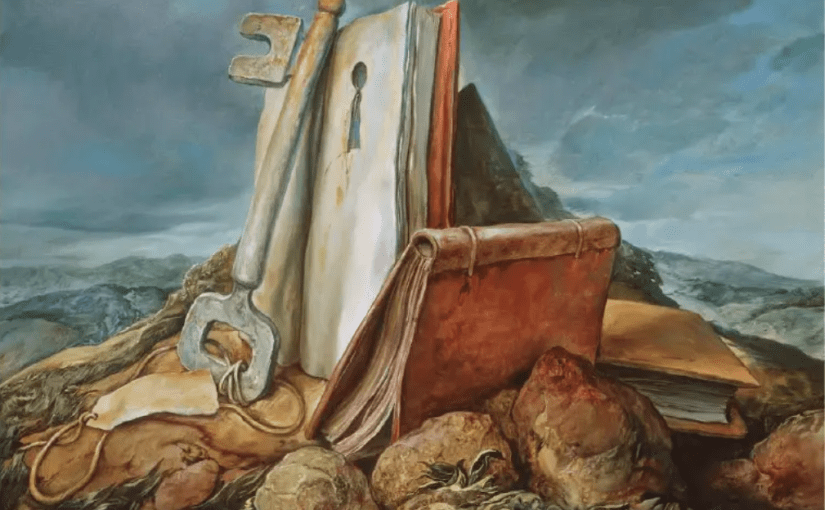 Image from book cover featuring a painting of several books piled on some rocks. One of the books is open and has a keyhole in it with a large skeleton key propped up against it.