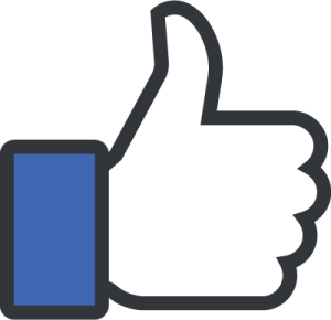 the iconic Facebook thumbs up icon featuring a hand and a blue sleeve