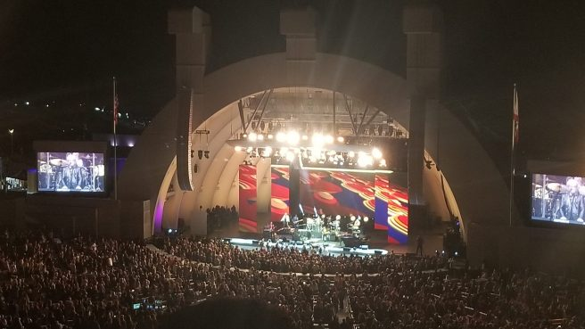 Bright lights illuminate the stage and the audience at the Hollywood Bowl