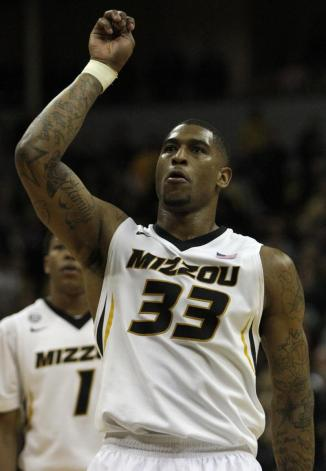 Senior guard Earnest Ross watches as the his game winning free-throw during the second half of Missouri's game against Texas A&M on Wednesday, March. 5 at Mizzou Arena, in Columbia. Missouri won in the final moments of the game 57-56. MIKE KREBS/The Maneater