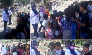 Antisipasi Trauma, DP3A Bolmong Lakukan Trauma Healing Bagi Anak-Anak Korban Banjir di Desa Batu Merah