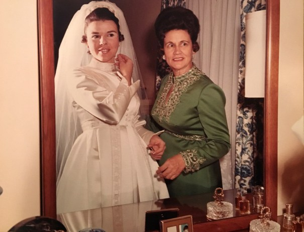 My mom getting ready with my grandmother