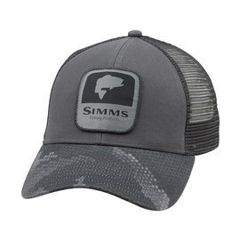 Simms Bass Patch Trucker Hex Camo Carbon Clothing Caps