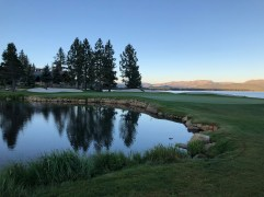 18th hole at sunrise before teeing off.