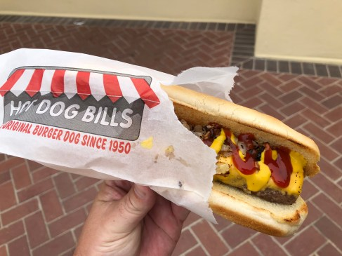 The famous burger dog from Hot Dog Bills at the turn (which is technically after hole 10). An Olympic Club staple.