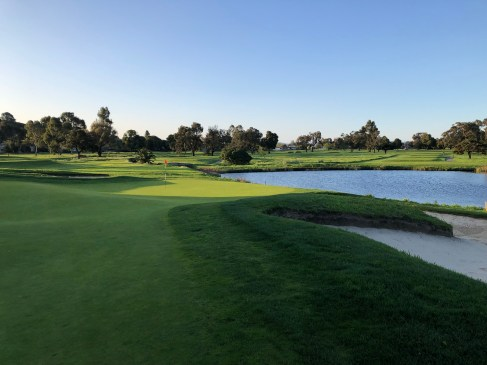 Side view of crazy 6th green.