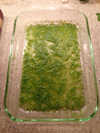 Layer 1/3 cup of your green chile sauce on the bottom of a 9 x 13 Pyrex dish