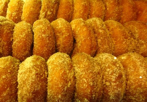 Early morning Indian Ladder Farms cider donuts.