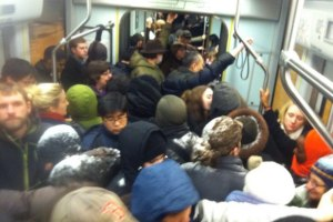 classic green line at rush hour...