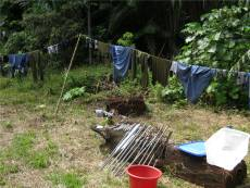 Clothes and coring gear drying off after a hard days toil