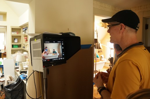 Roger watches the monitor on one of the Numerica spots