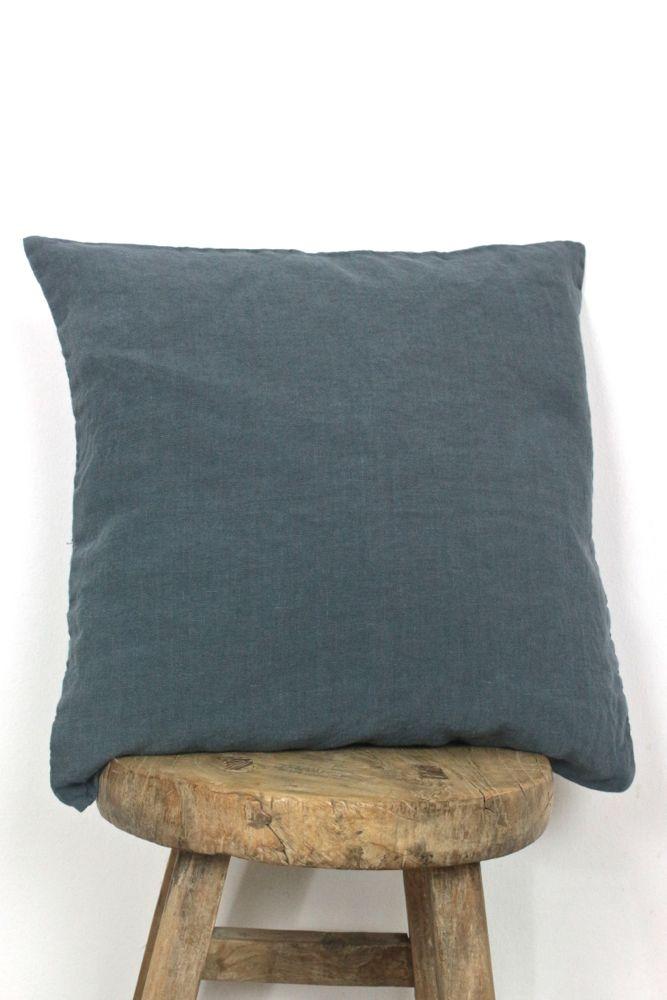 linen pillow case grey blue 40x40