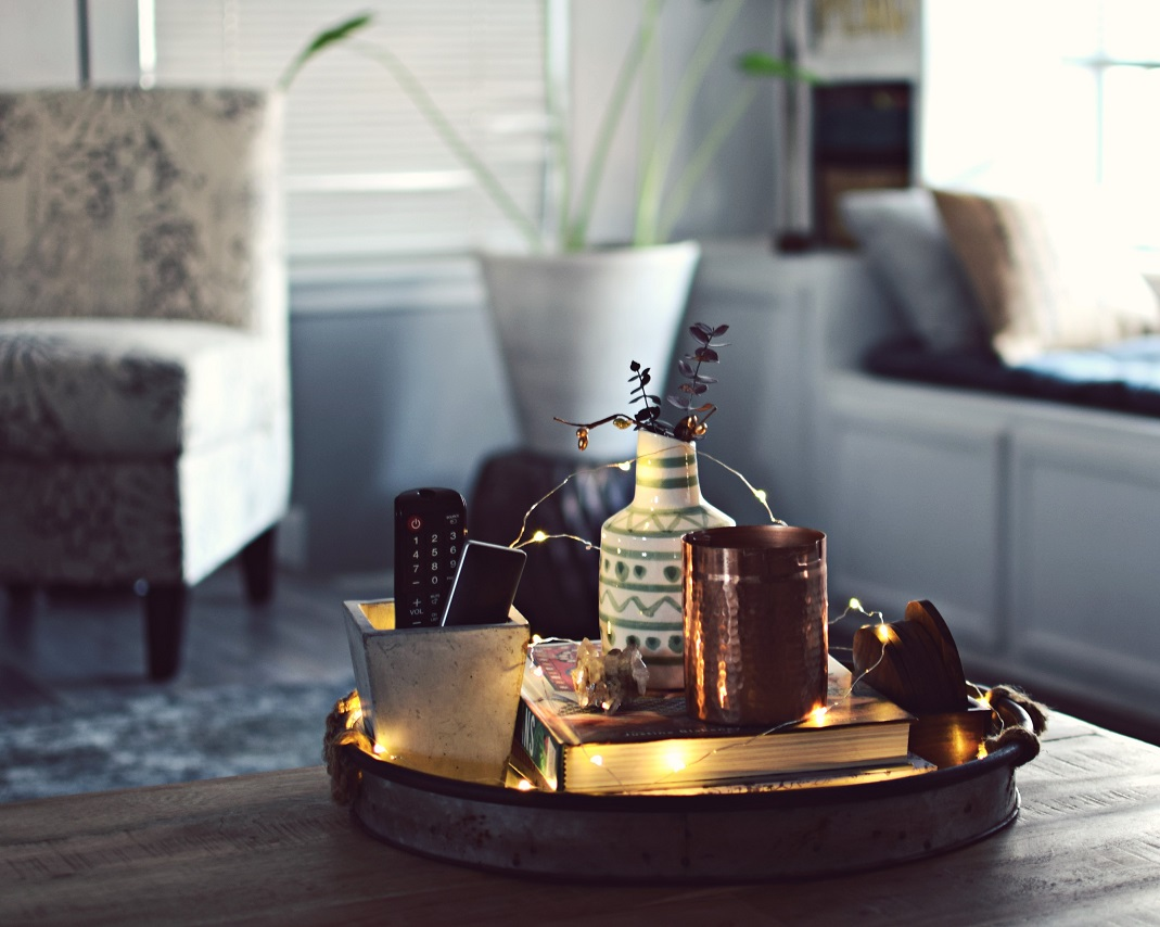 coffee table decor with fairy lights