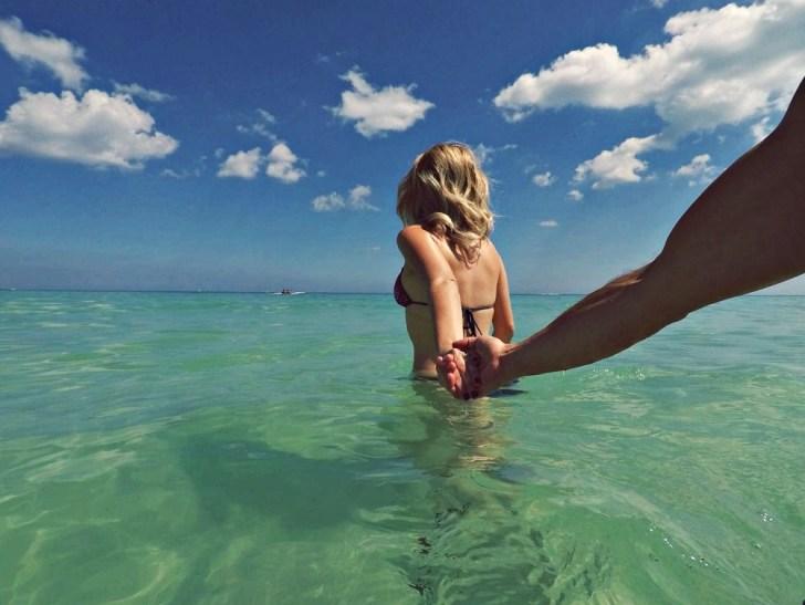 walking into the ocean with dekel south beach miami