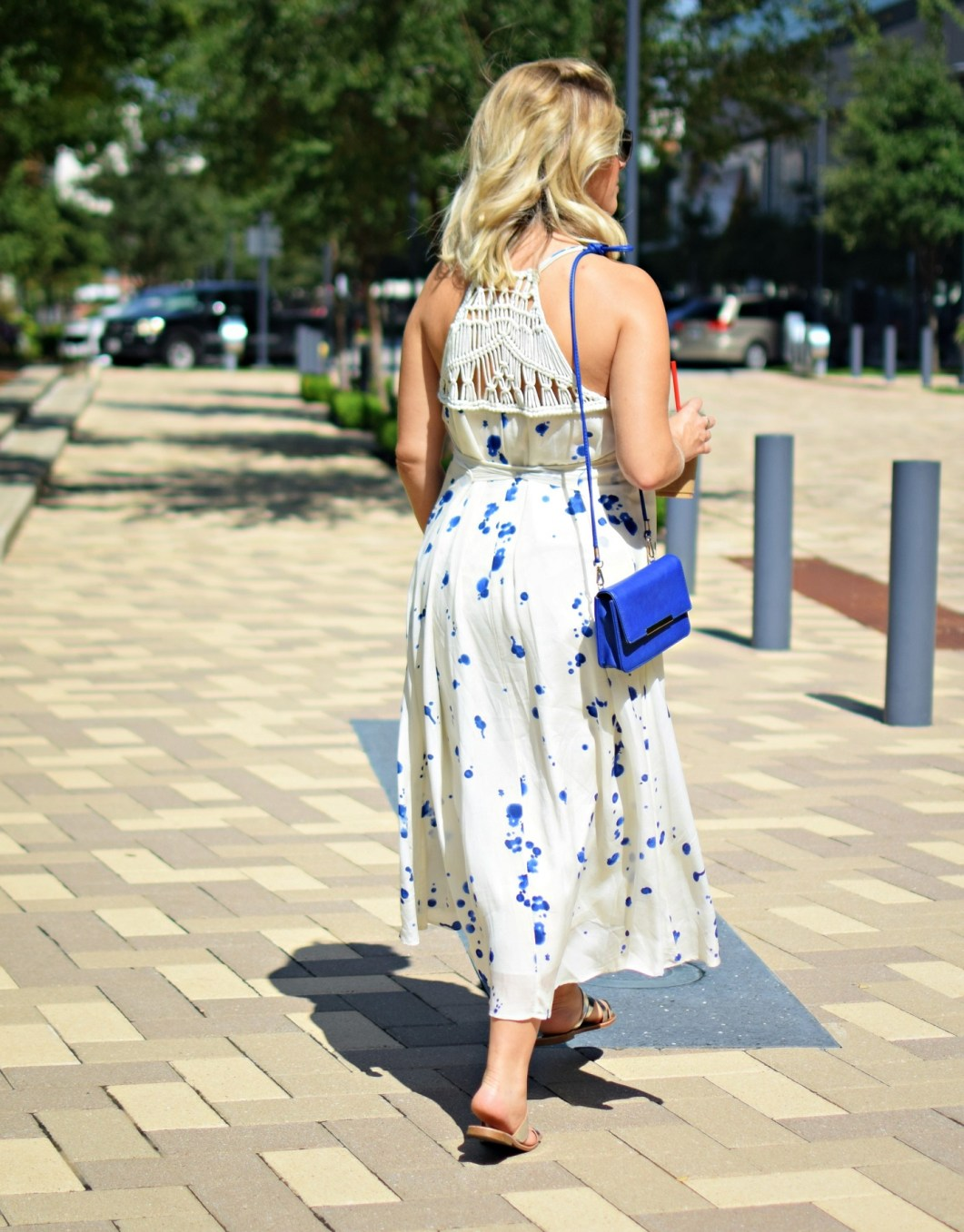 week 28 pregnancy bumpdate buffalo exchange blue splatter dress