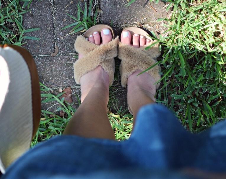 target furry footbed slipon sandals