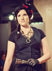 Runway Show at Indie Emporium. Jewelry & accessories by me. Hats by my mom, The Salvage Seamstress. Model: Renee Nordholm. Photo by Colin Huntley.