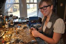 Me at my studio table making jewelry. Photo taken for the Tulsa Studio Tour, which I had the privilege of participating in.