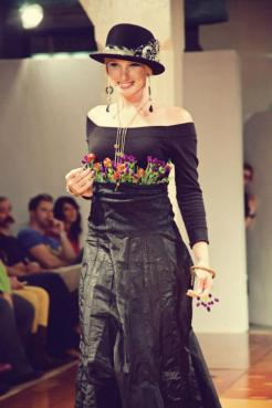Runway Show at Indie Emporium. Jewelry & accessories by me. Hats by my mom, The Salvage Seamstress. Model: Kathleen Miller. Photo by Colin Huntley.