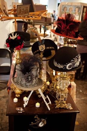 Close up of the hat display in my booth at Indie Emporium. Hats made by my mom, The Salvage Seamstress.