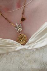 Custom Wedding Order. Bridal necklace made with antique gold watch chain, watch button, rhinestone and pearl earring, and Sweetheart & Co. locket.