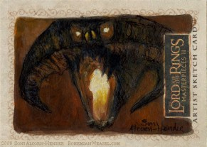 'The dark fire will not avail you!' Topps Lord of the Rings LotR Masterpieces 2 sketch card by Soni Alcorn-Hender