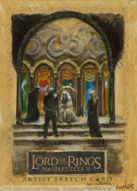 'Your son is badly wounded, my lord..' Topps Lord of the Rings LotR Masterpieces 2 sketch card by Soni Alcorn-Hender