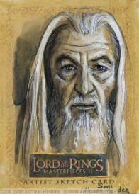 'I will draw you out, Sarauman' Topps Lord of the Rings LotR Masterpieces 2 sketch card by Soni Alcorn-Hender
