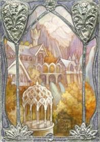 Rivendell window, Erebor, gilded sketch card by Soni Alcorn-Hender