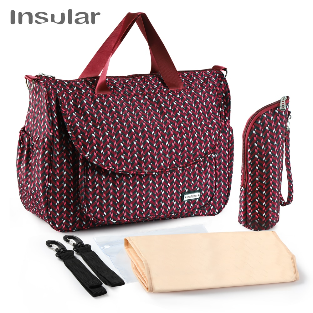 4pcs Insular Maternity Large Capacity Waterproof Stroller Tote & Accessories