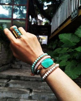 Boho Chic Gild Natural Amazonite  Wrap Bracelet Big Stone Boho Leather