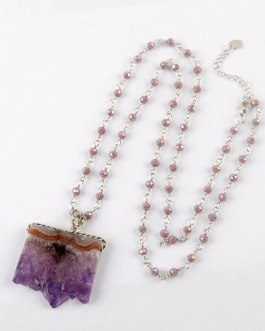 Boho Chic Pendant Necklace Natural Amethysts