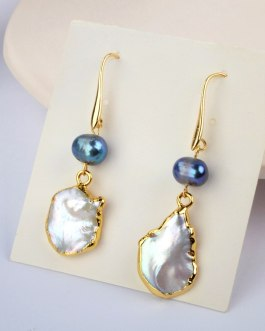 Boho Chic Irregular Pearl Earrings Handmade
