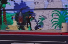 Horizons West Surf Shop side wall mural by Doug Smith with Kobe Newell skateboarding
