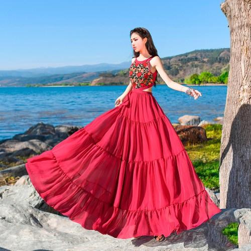 Boshow малиновое платье