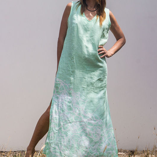 MarlЁn мятное льняное платье