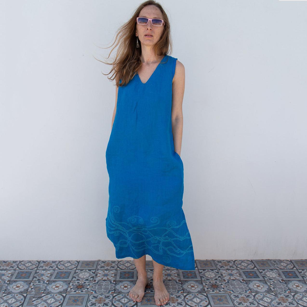 MarlЁn лазурно-синее платье