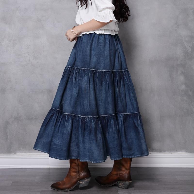 Джинсовая ярусная юбка (шоу-рум)