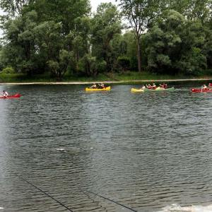 Boho travel art canoeing old Drava river