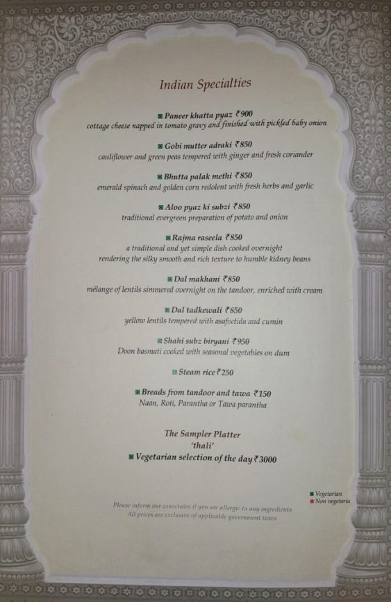 Rambagh Palace Menu, Jaipur, India, Rajasthan, Taj Group