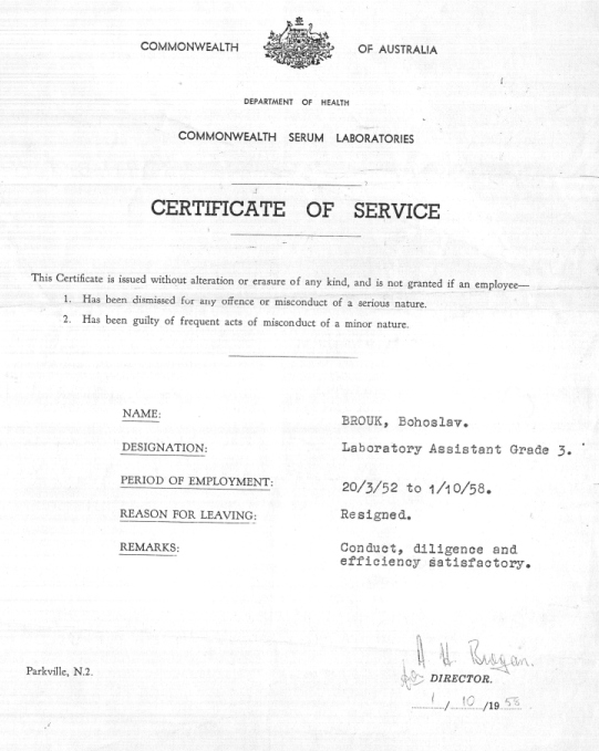 Certificate of Service, Commonwealth Serum Laboratories (1. října 1958)