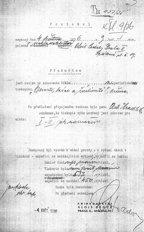 Protokol o revizi v nakl. Alois Srdce, 4. května 1936 - konfiskace knihy O smrti, lásce a žárlivosti (1936)