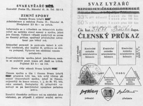 Vnější strany členského průkazu Svazu lyžařů, 1939