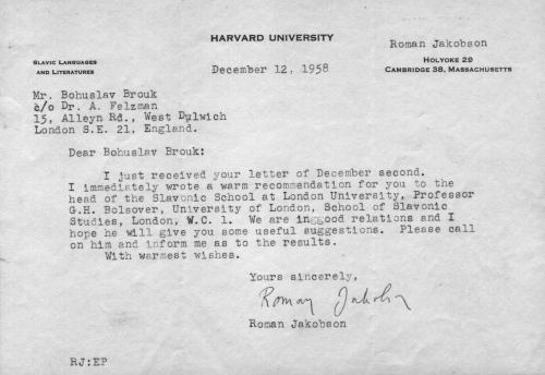Dopis lingvisty Romana Jakobsona, 1958