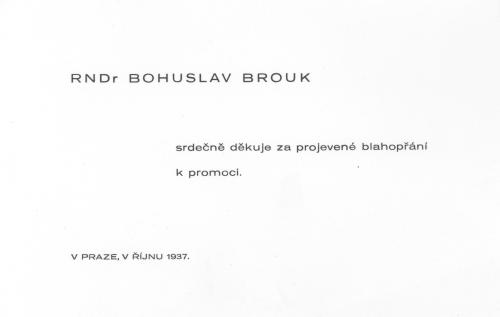 Poděkování k promoci, říjen 1937