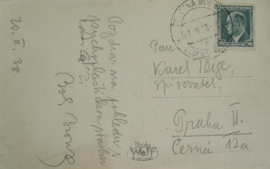 Rub pohledu Karlovi Teigemu, 20. února 1938
