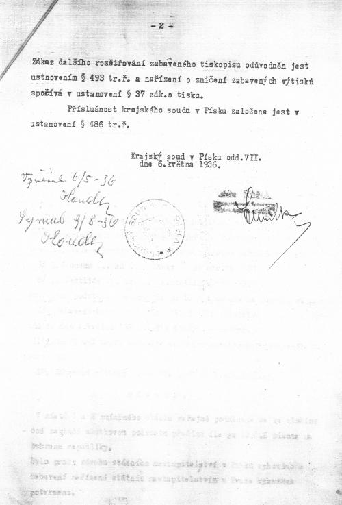 Druhá strana nálezu krajského soudu v Písku, 6. května 1936 týkající se knihy O smrti, lásce a žárlivosti (1936)