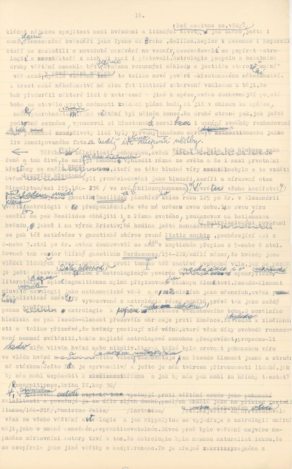 Str. 16 rukopisu O šalbě svobody a filosofie: Pojem svobody v dějinách lidského myšlení a jeho patřičný význam (1954-1958)