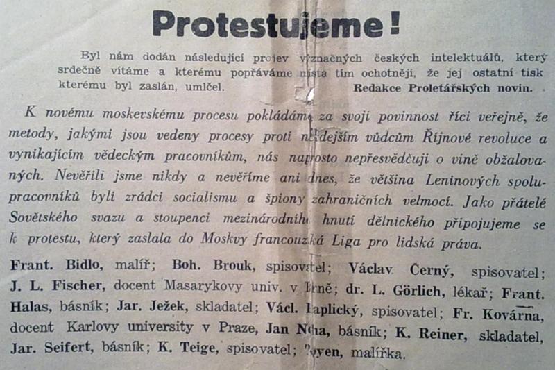 Manifest Protestujeme!, Proletářské noviny, 15. dubna 1938, r. I, č. 1, s. 1