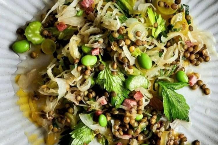 Sauerkraut salad with lentil
